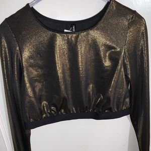 Torrid, Shrimmy long sleeve gold crop top size:00